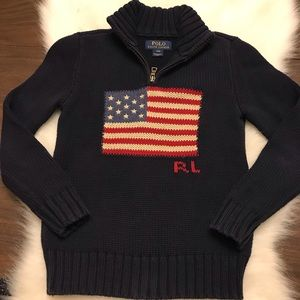 POLO RALPH LAUREN US Flag Knit Half Zip Sweater